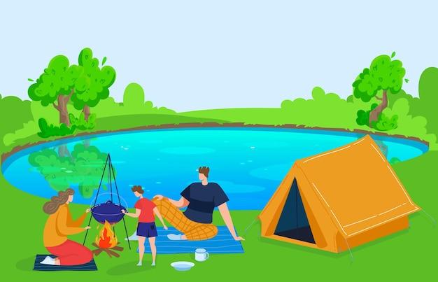 Летняя семья на природе путешествия отдых возле озера векторная иллюстрация плоский мужчина женщина персонаж на каникулах мать отец сын в лагере