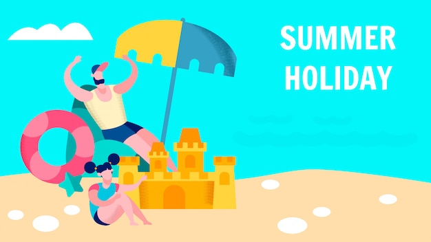 Summer family holidays vector banner template
