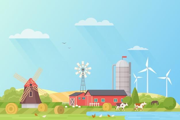 Летний пейзаж сельскохозяйственных угодий с мельницей и домашней птицей