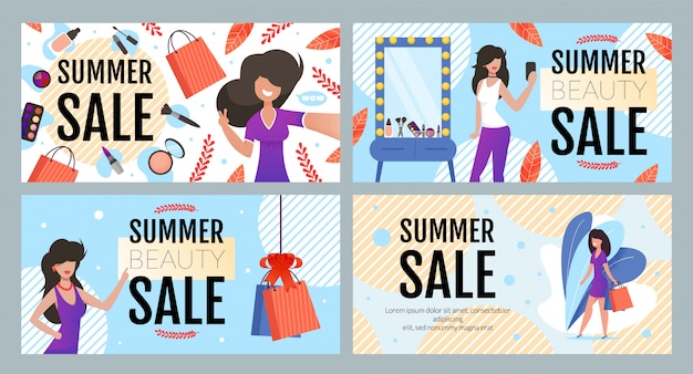 Summer fashion and beauty sale banner set
