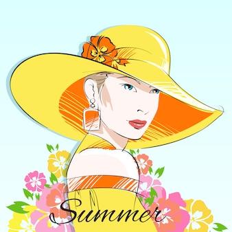 Summer fashion girl in yellow hat
