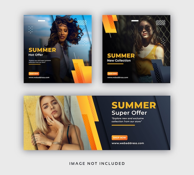 Летняя мода, продажа в соцсетях, пост-баннер и шаблон обложки в фейсбуке