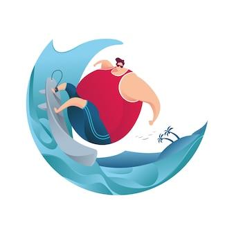海の波でサーフィンする夏の太った男休暇フラットキャラクターイラスト