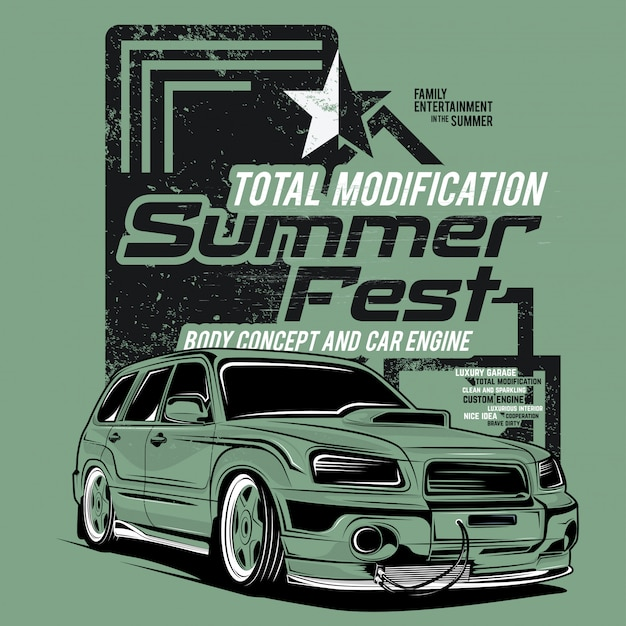 Summer fest, super car illustrations