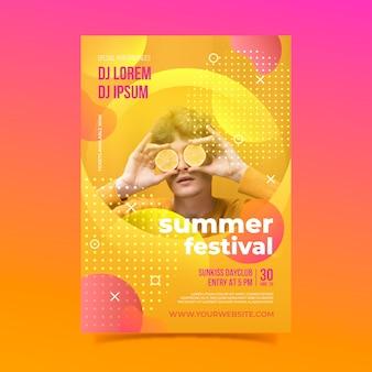 Летний фестиваль и лимоны постер шаблон