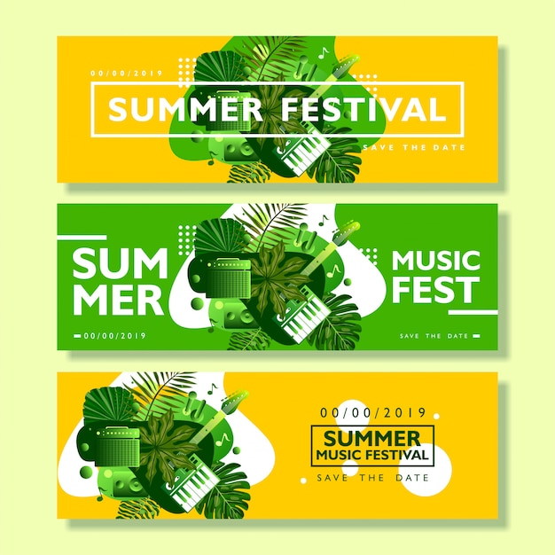 Summer festival banner template collection
