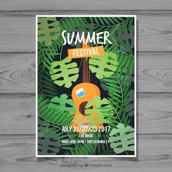 Брошюра летнего фестиваля с гитарой и пальмовыми листьями