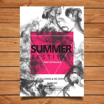 Summer festival flyer with smoke