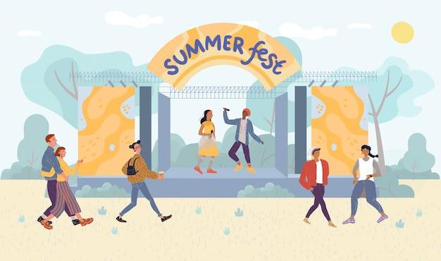 Summer festival live performance for park visitor