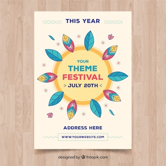 Summer festival poster in flat style