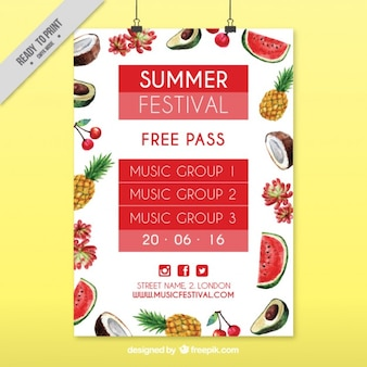 Summer festival poster with watercolor tropical fruits