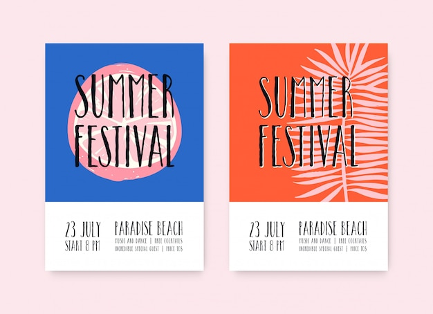 Летний фестиваль плакатов шаблон. летний музыкальный фестиваль, пляжная вечеринка плакат с пространством для текста.