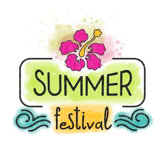 Summer festival. watercolor banner with tropical flower