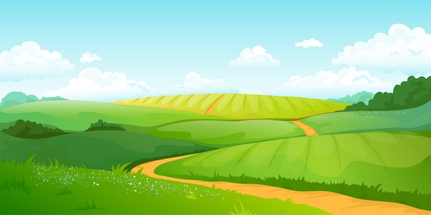Summer fields landscape illustration