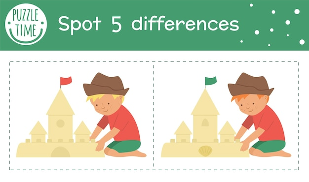 Summer find differences game for children