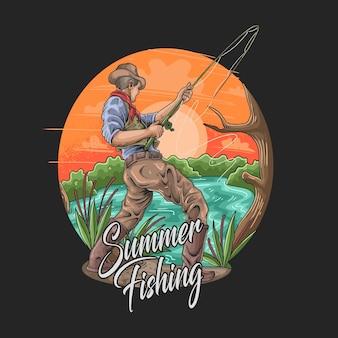 Летняя рыбалка рыболов хобби и отдых иллюстрация