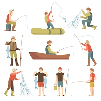 Summer fishing sport vacation vector flat icons. fishermen with fish set.