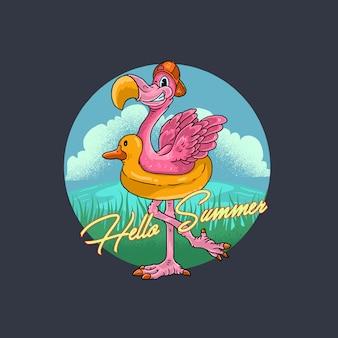 夏フラミンゴ鳥イラスト