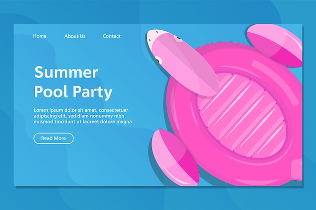 Summer flamingo float landing page vector