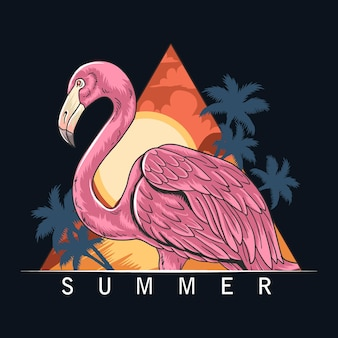Summer flamingos on the beach with coconut trees and the sea