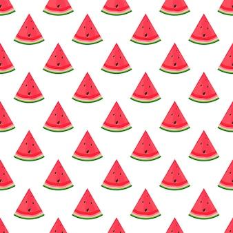 Summer flat seamless pattern with watermelon