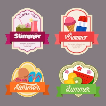 Summer flat style label with treat element