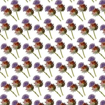 咲く庭の花のパターンデザインと夏のフローラ