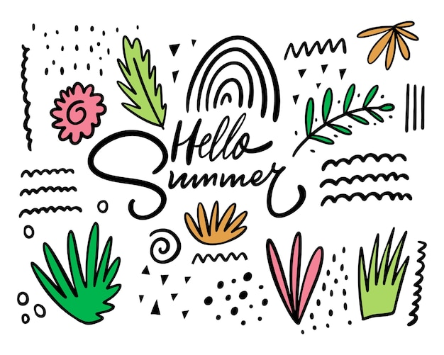 Summer floral abstract doodles elements set.