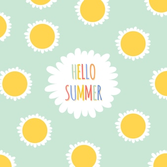 Summer floral background and banner in flat cartoon style with daisies