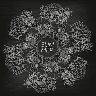 Summer floral background drawn by hand on the black unclean chalkboard
