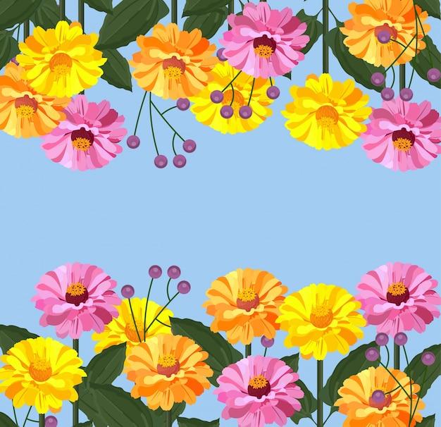 夏の花のカードのバナーの背景ベクトル図