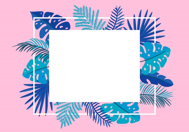 Summer floral frame tropical leaves palm. greeting card