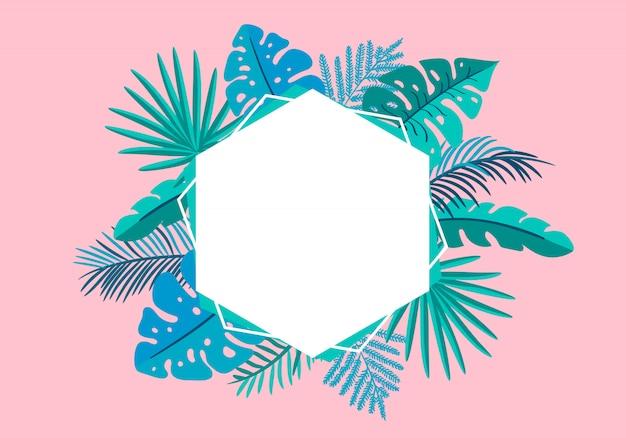 Summer  floral frame tropical leaves palm
