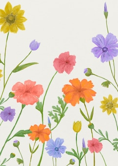 Summer floral graphic background in cheerful colors poster