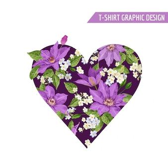Summer floral heart tropical flowers design
