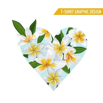 Summer floral heart tropical flowers design