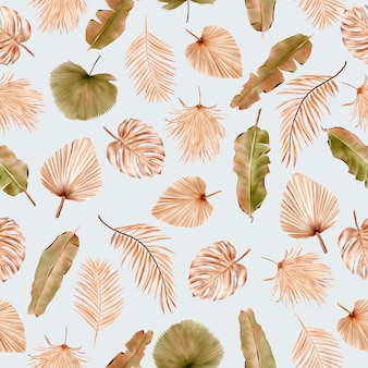 Motivo floreale estivo e foglie senza soluzione di continuità