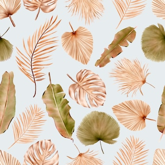 Summer floral and leaves seamless pattern