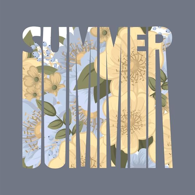 夏季花卉刻字
