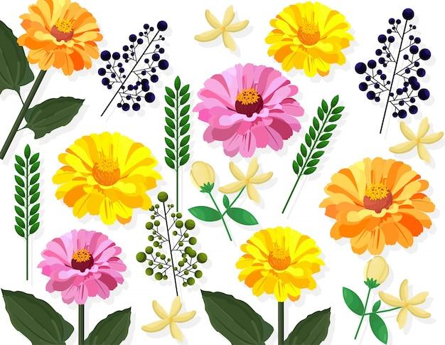 夏の花のパターンカードの背景ベクトル図