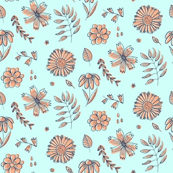 Summer floral pattern with doodle orange flowers