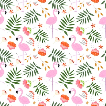 Summer floral pattern with plant,flowers and flamingo in the white