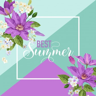 Summer floral poster with tropical flowers