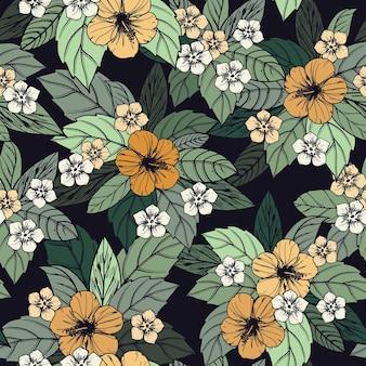 ハイビスカスの花と夏の花のシームレスなパターン