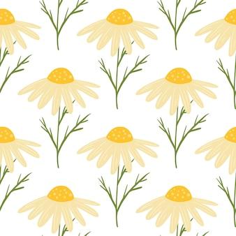 격리 된 노란색 귀여운 데이지 꽃 인쇄 여름 꽃 원활한 패턴