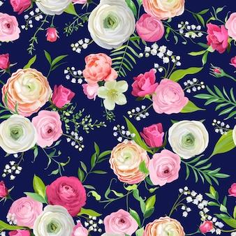 Летний цветочный фон с розовыми цветами и лилией. ботанический фон для текстильных тканей, обоев, упаковочной бумаги и декора. векторная иллюстрация
