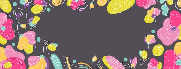 Summer floral seasonal cover web page dark background. flowerbed with bright neon colors. dark background