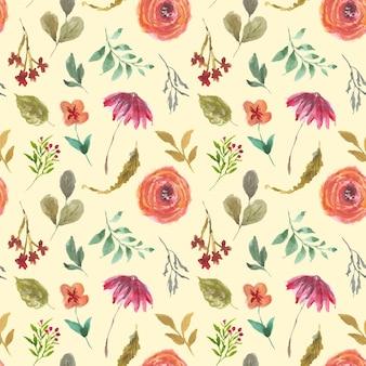 夏の花の水彩画のサンプルパターン