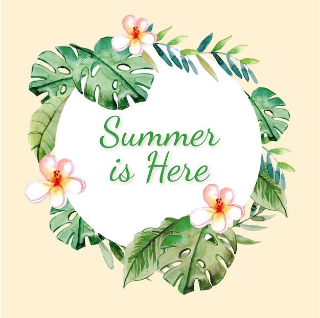 여름 꽃 수채화 화환