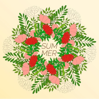 Summer floral, wreath of flowers and green leaves.